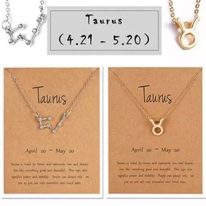 Taurus Zodiac Sign and Constellation Necklace Duo